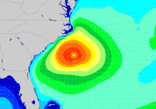 LOLA wave model guidance valid on Monday afternoon