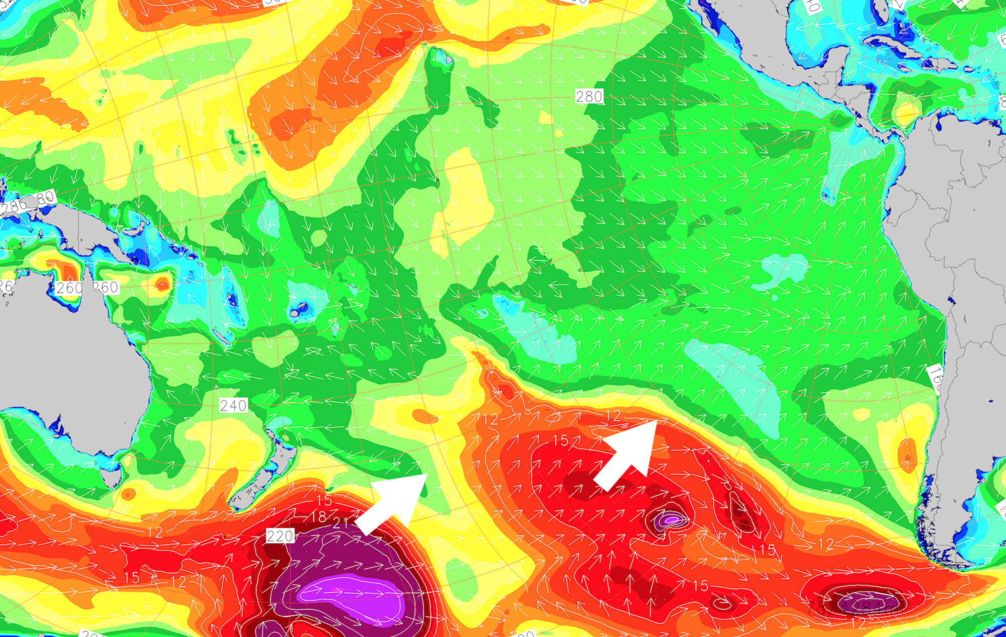 Surf forecast for the South Pacific